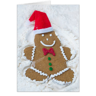 Christmas gingerbread man snow angel card