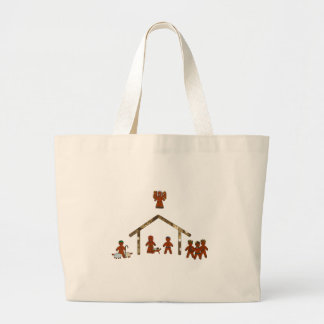 christmas gingerbread nativity large tote bag