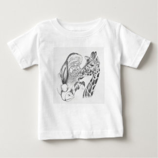 Christmas Giraffe and Santa Baby T-Shirt
