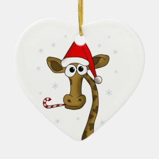 Christmas giraffe ceramic ornament