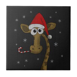 Christmas Giraffe Ceramic Tile