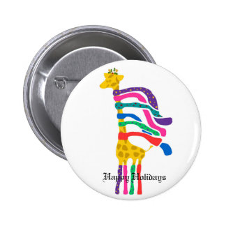 Christmas Giraffe, Happy Holidays button