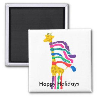 Christmas Giraffe, Happy Holidays magnet