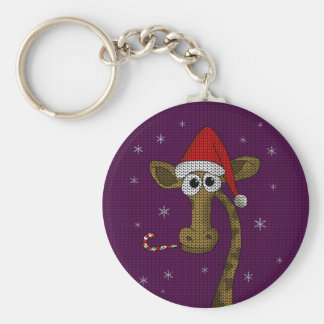 Christmas Giraffe Key Ring