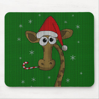 Christmas Giraffe Mouse Pad