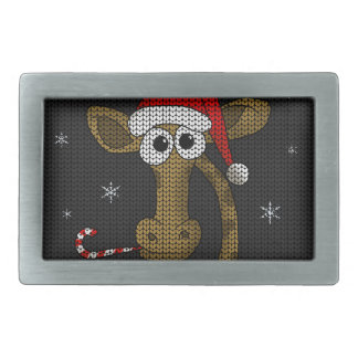 Christmas Giraffe Rectangular Belt Buckle