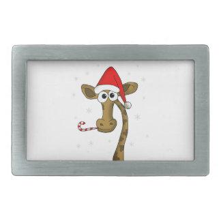 Christmas giraffe rectangular belt buckle