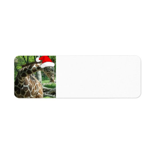Christmas Giraffe Return Address Label