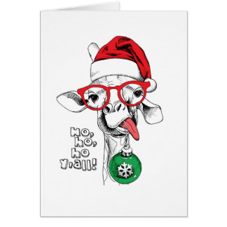 Christmas Giraffe Santa Card