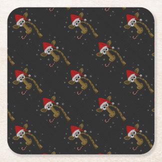 Christmas Giraffe Square Paper Coaster