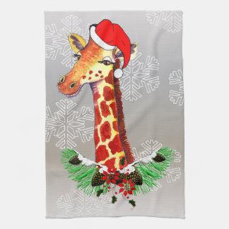 Christmas Giraffe Tea Towel
