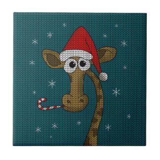 Christmas Giraffe Tile
