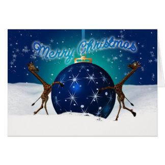 Christmas Giraffe With Giant Bauble Card