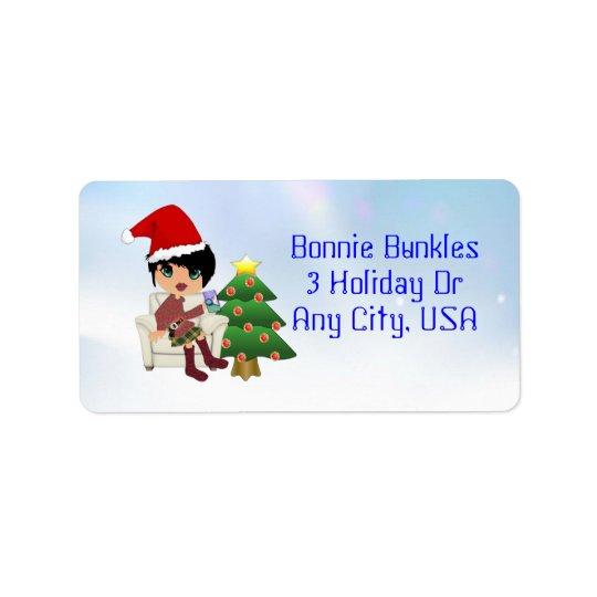 Christmas Girl Address Labels