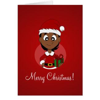 Christmas girl cartoon greeting card
