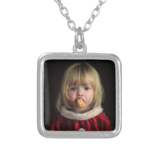 Christmas girl - christmas child - cute girl silver plated necklace