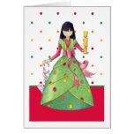 Christmas Girl dots Card