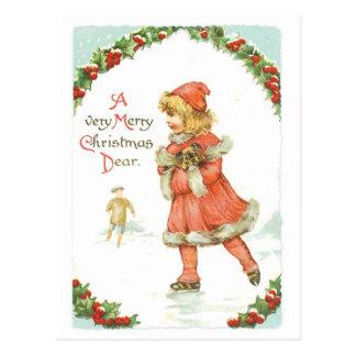 Christmas Girl Ice Skating Postcard