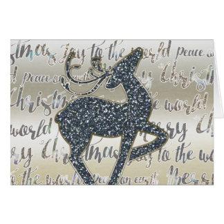 Christmas Glitter REINDEER Holiday Fold Card