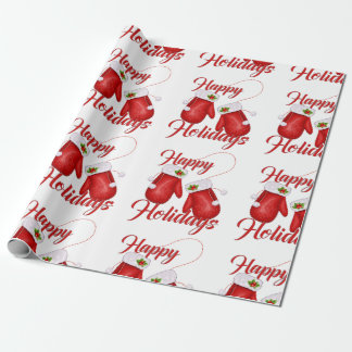 Christmas Gloves Happy Holidays Wrapping Paper