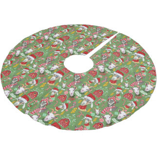 Christmas GOATS Candy and Jingle Bells Brushed Polyester Tree Skirt