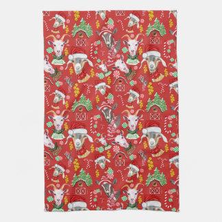 Christmas GOATS Candy and Jingle Bells GetYerGoat™ Tea Towel