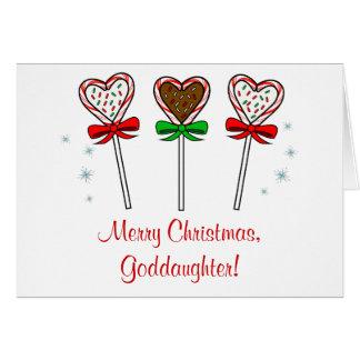 Christmas Goddaughter Three Chocolate Lollipops Card