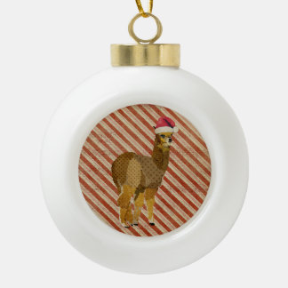 Christmas Gold Alpaca Ornament