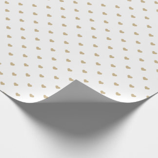 Christmas Gold Love Hearts on White Wrapping Paper