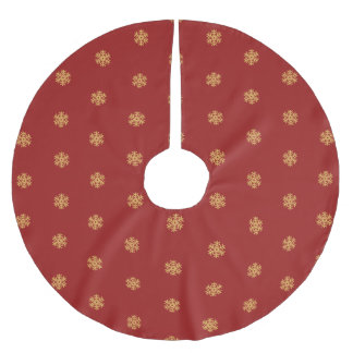 Christmas gold snowflake pattern, customizable BG Brushed Polyester Tree Skirt