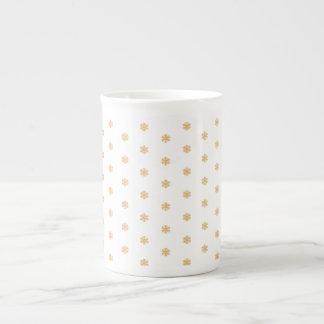 Christmas gold snowflake pattern, customizable BG Tea Cup