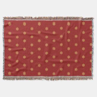 Christmas gold snowflake pattern, customizable BG Throw Blanket