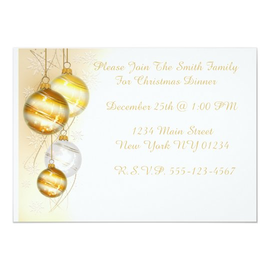 Christmas Gold White Ball Ornaments Card