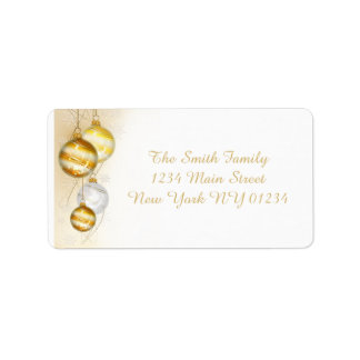 Christmas Gold White Ball Ornaments Label