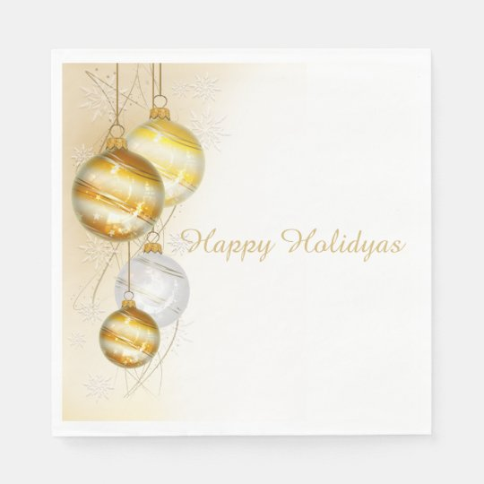 Christmas Gold White Ball Ornaments Paper Napkin