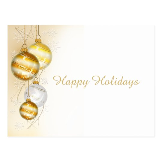 Christmas Gold White Ball Ornaments Postcard