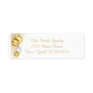Christmas Gold White Ball Ornaments Return Address Label