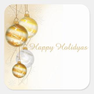 Christmas Gold White Ball Ornaments Square Sticker