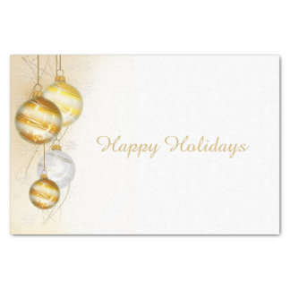 Christmas Gold White Ball Ornaments Tissue Paper