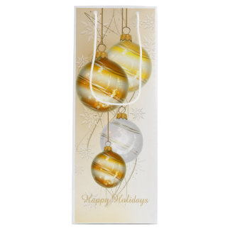 Christmas Gold White Ball Ornaments Wine Gift Bag