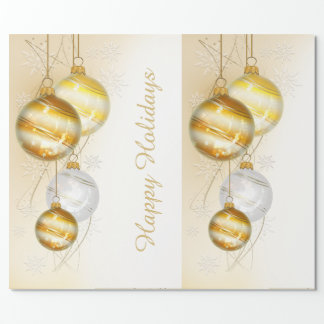 Christmas Gold White Ball Ornaments Wrapping Paper