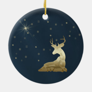Christmas, Golden Deer and Snowflakes Ceramic Ornament