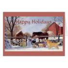 Christmas Golden Retriever and Horses At The Farm Card