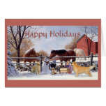 Christmas Golden Retriever and Horses At The Farm Greeting Card