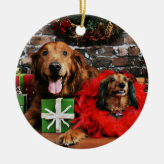 Christmas - Golden Retriever Max - Doxie - Chloe Round Ceramic Decoration