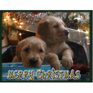 CHRISTMAS GOLDEN RETRIEVER PUPPIES UNDER TREE STANDING PHOTO SCULPTURE