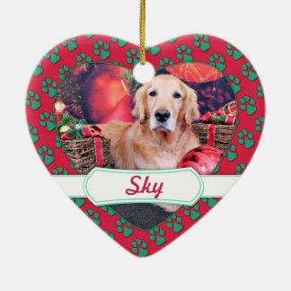 Christmas - Golden Retriever - Sky Ceramic Heart Decoration