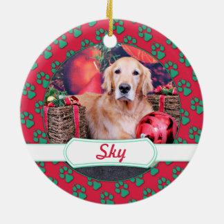 Christmas - Golden Retriever - Sky Ornaments
