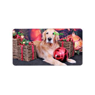 Christmas - Golden Retriever - Sky Address Label