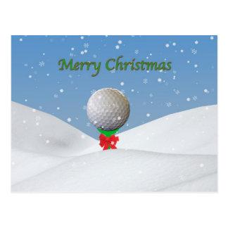 Christmas, Golf Ball in the Snow Postcard